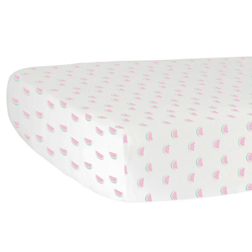 Watermelon Organic Cotton Jersey Crib Sheet - Project Nursery