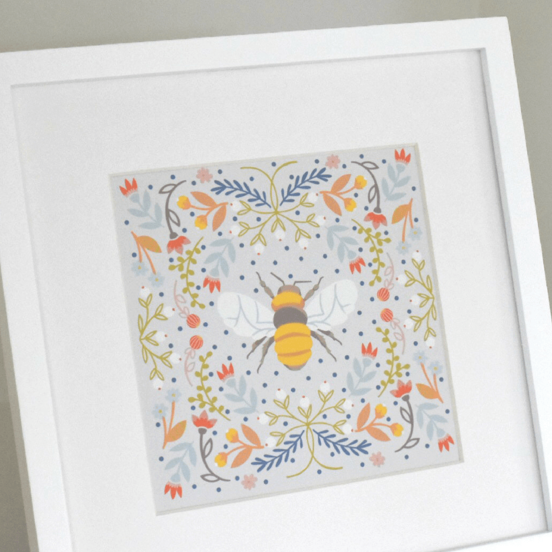 Linen Bee Square Fine Art Print - Project Nursery