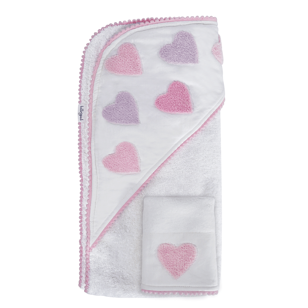 Organic Hooded Towel and Washcloth Set - Boucle Heart - Project Nursery
