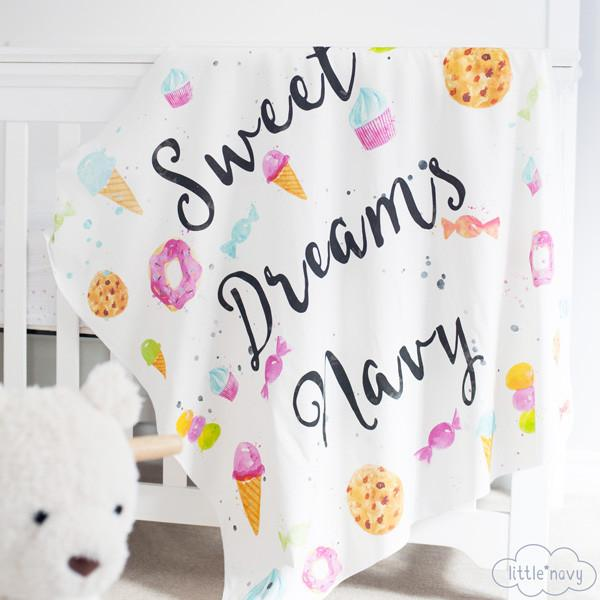 Personalized 'Sweet Dreams' Organic Swaddle Blanket