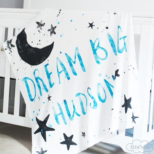 Personalized 'Dream Big' Organic Swaddle Blanket