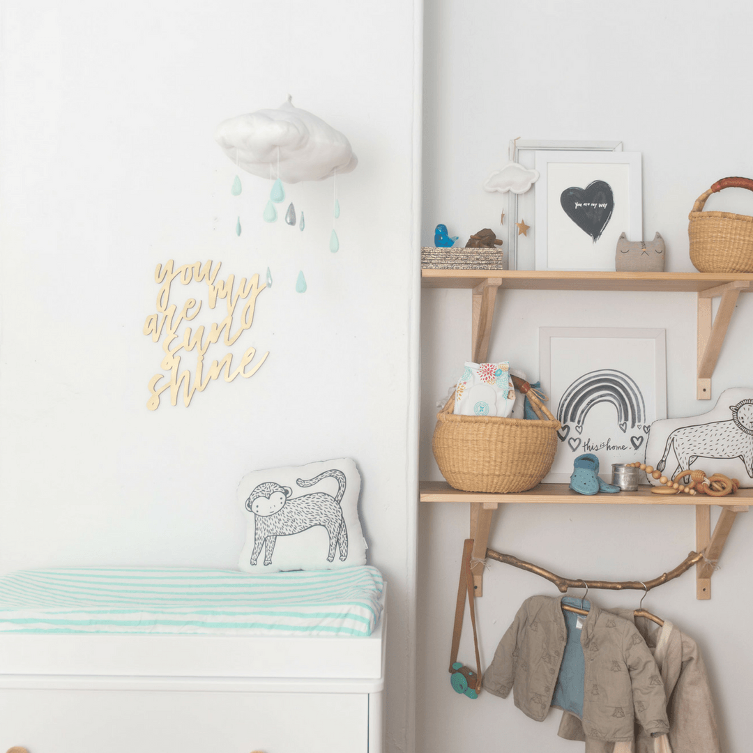 Luxe White Cloud + Raindrop Mobile in Aqua Silver - Project Nursery