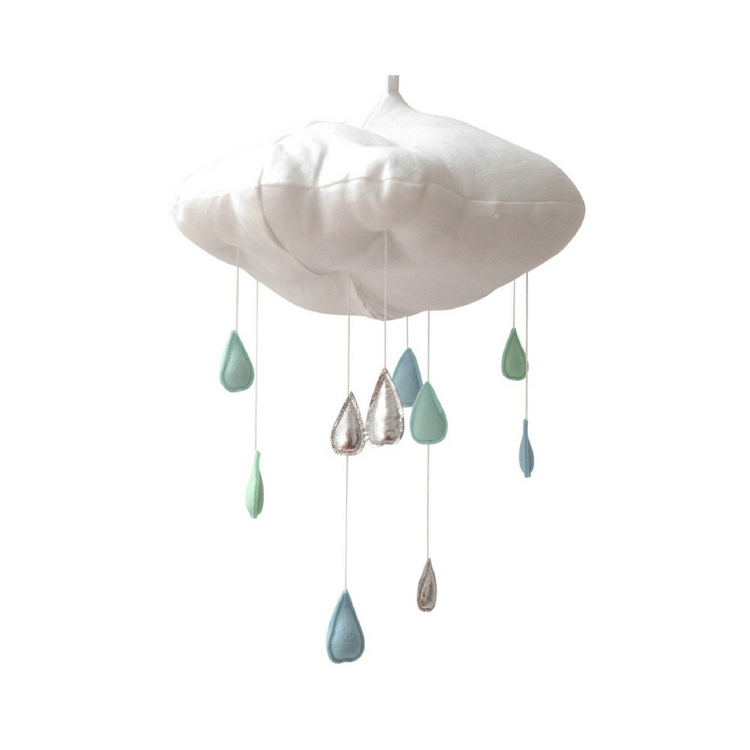 Luxe White Cloud + Raindrop Mobile In Aqua Silver