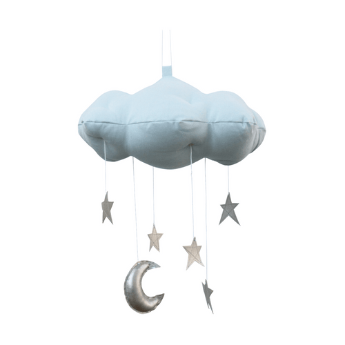 Blue Cloud + Moon Mobile in Silver - Project Nursery
