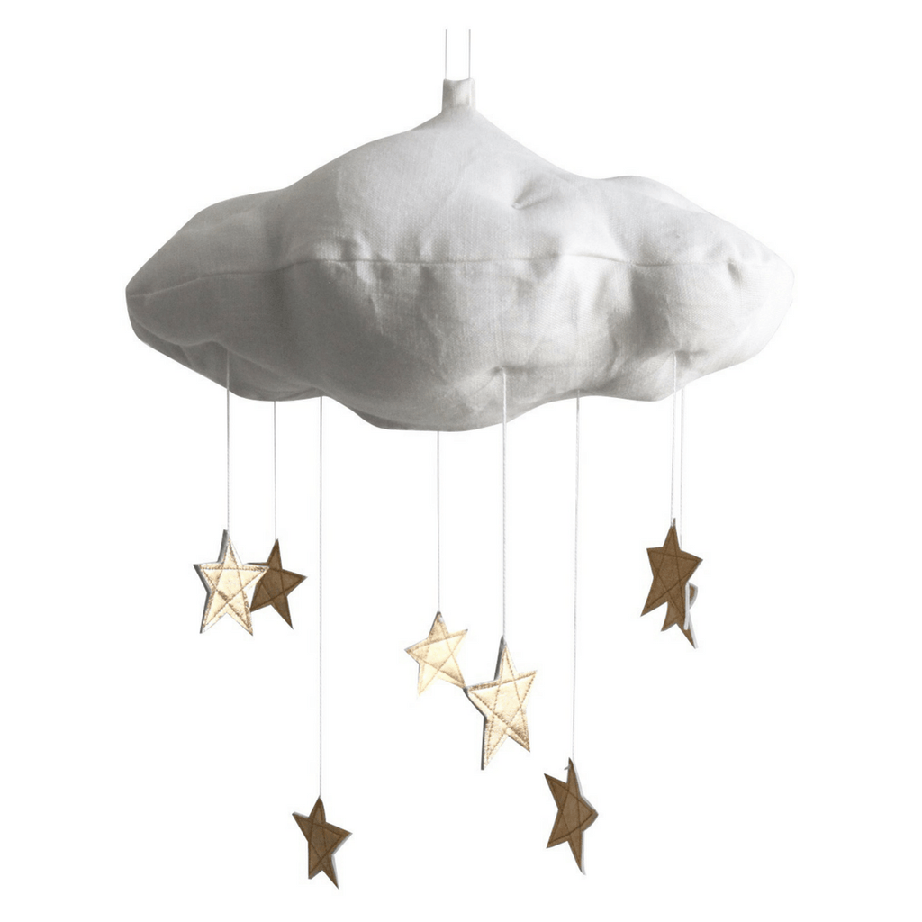 Luxe White Cloud + Star Mobile in Gold - Project Nursery