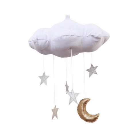 White Cloud & Moon Mobile in Gold