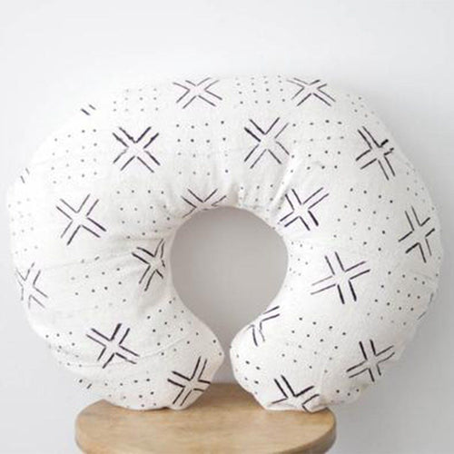 Mud Cloth Nursing Pillow Cover - White + Black Xs + Dots - Project Nursery