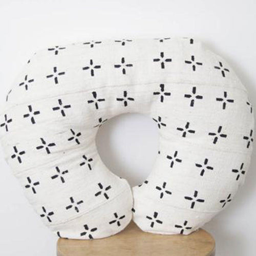 Mud Cloth Nursing Pillow Cover - White + Black Plus Signs - Project Nursery