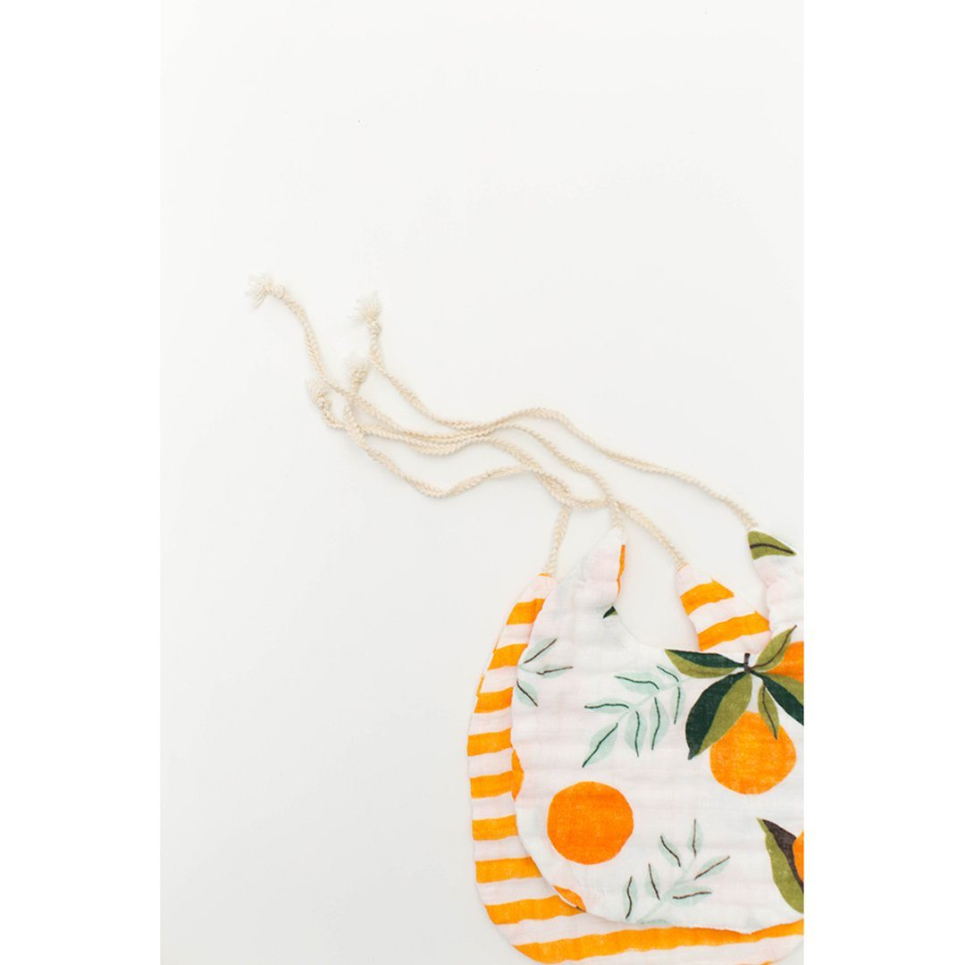 Clementine + Citrus Stripe Bib Set - Project Nursery