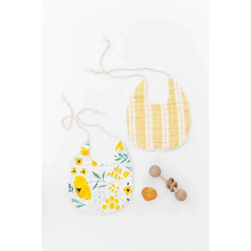 Buttercup Blossom + Mustard Herringbone Bib Set - Project Nursery