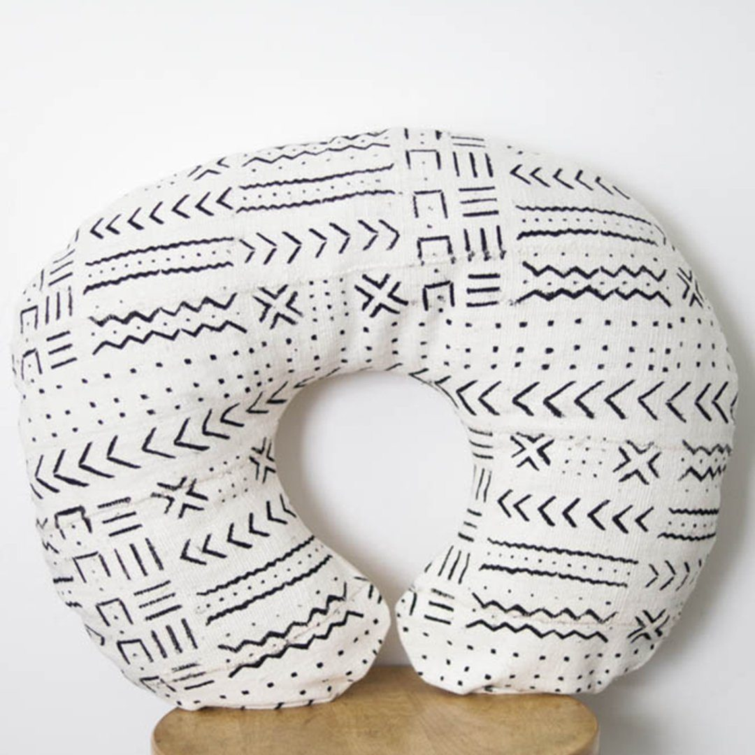 Mud Cloth Nursing Pillow Cover - White + Black Zig Zags - Project Nursery