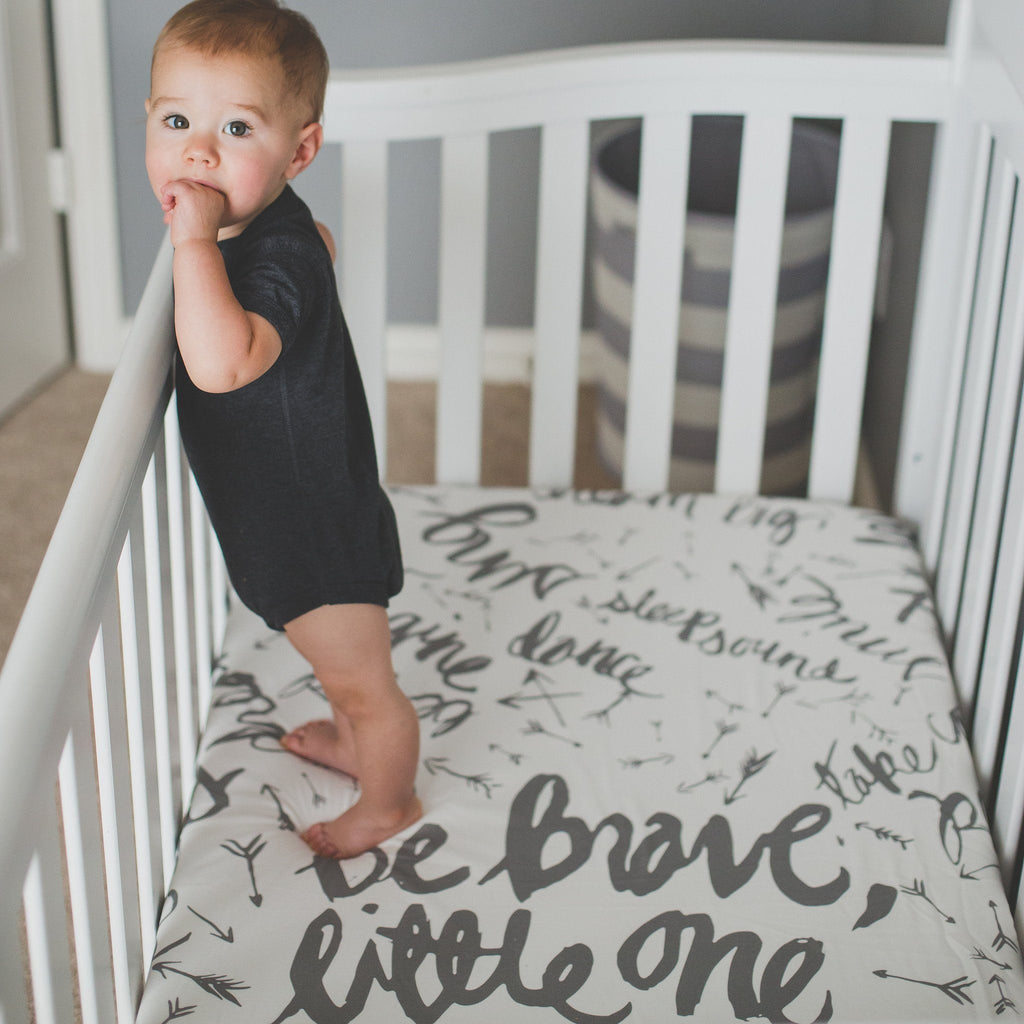 'Be Brave Little One' Love Letter Organic Cotton Knit Crib Sheet  - The Project Nursery Shop - 3