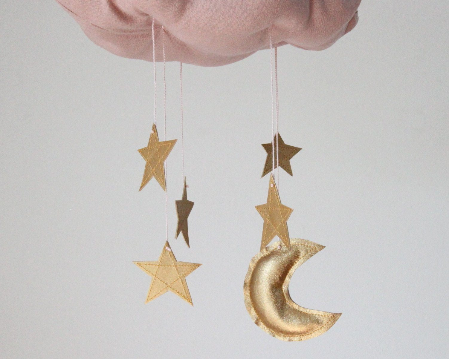 Blush Cloud & Moon Mobile in Gold - Project Nursery