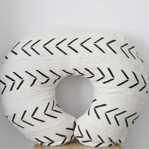Mud Cloth Nursing Pillow Cover - White + Black Xs + Dots Bold