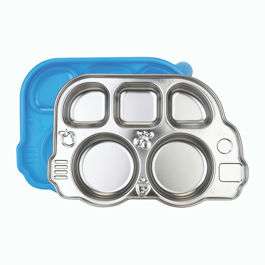 Din Din Smart Stainless Divided Platter with Sectional Lid - Blue - Project Nursery