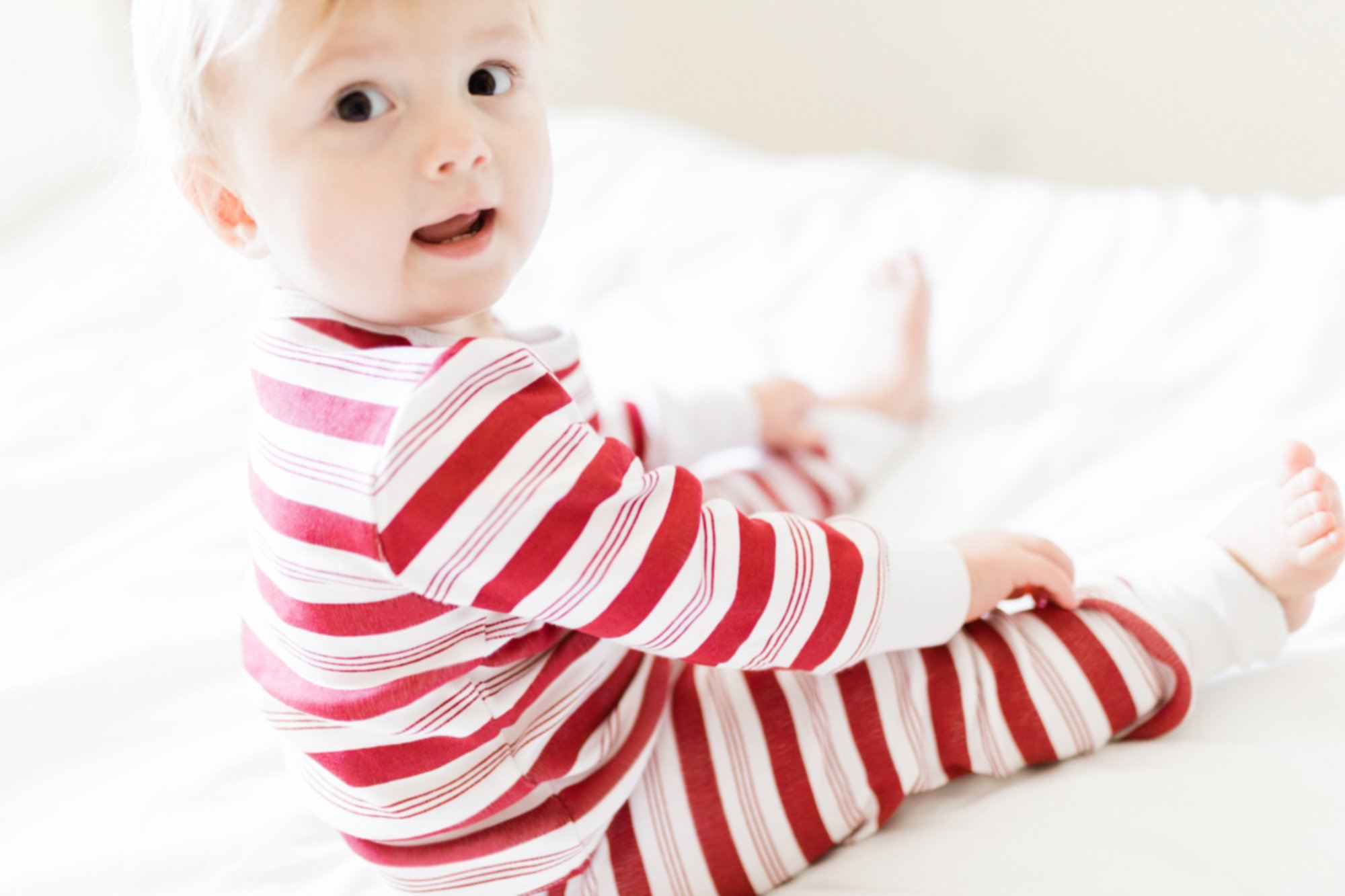 Organic Kids Long Sleeve PJ & Cap Set in Peppermint Stripe - Project Nursery