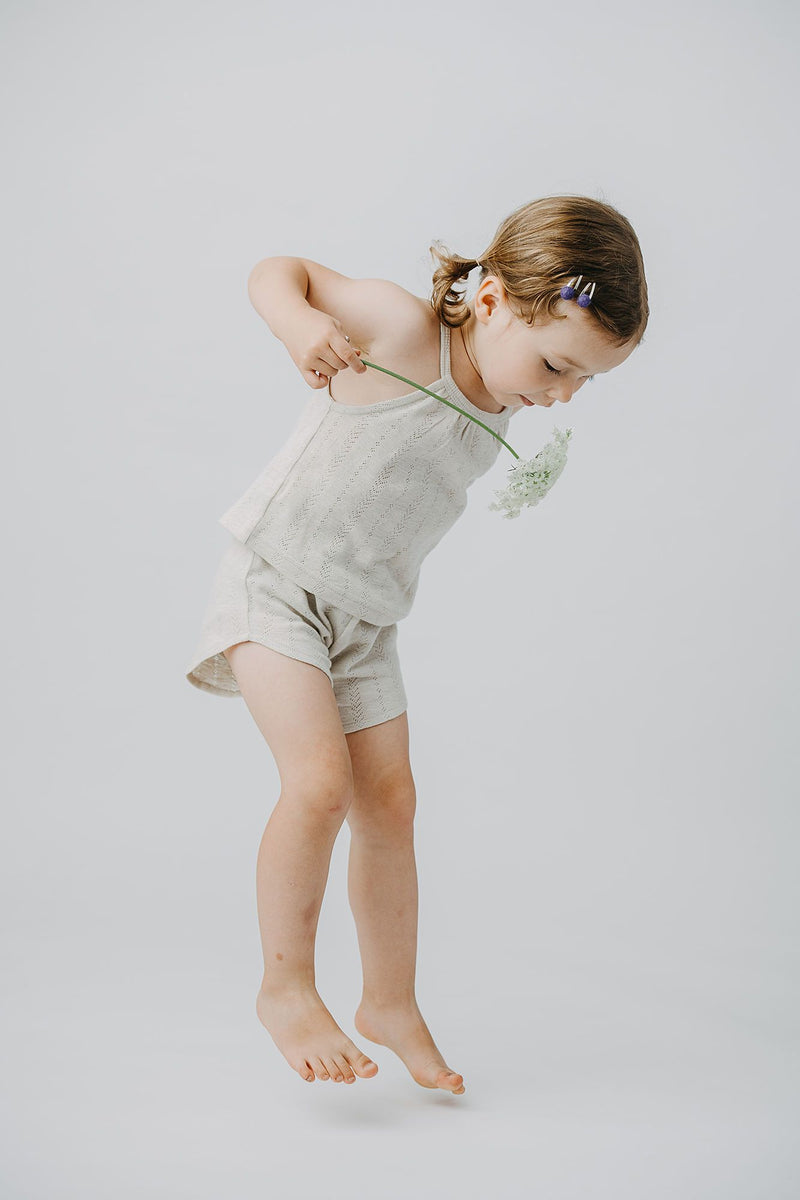 Organic Cotton Pointelle Halter Tank - Stone - Project Nursery