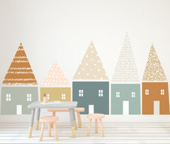 Large Folk House Wall Decal Set - Muted Colors - Project Nursery