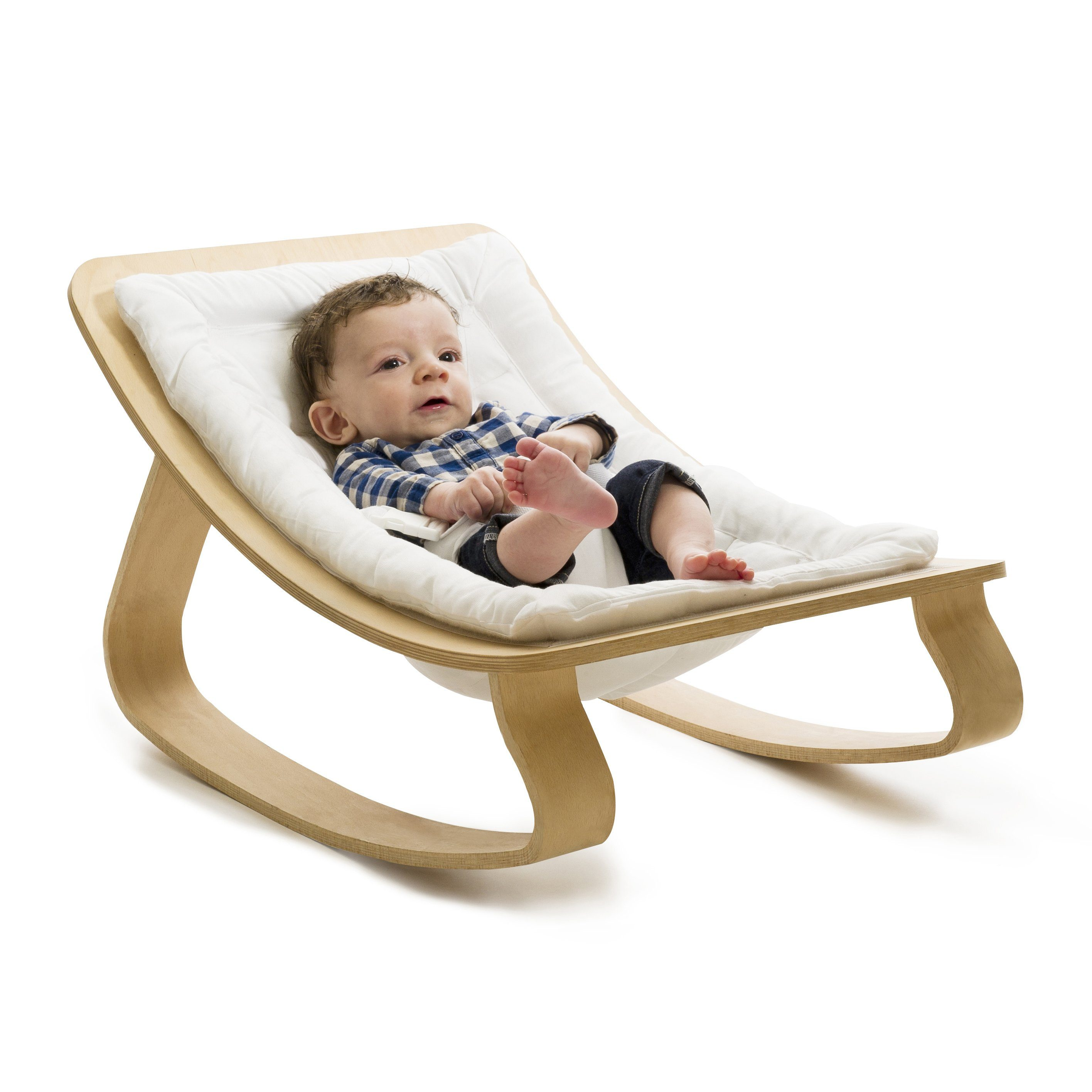 Charlie Crane LEVO Baby Rocker - Beech with Gentle White - Project Nursery
