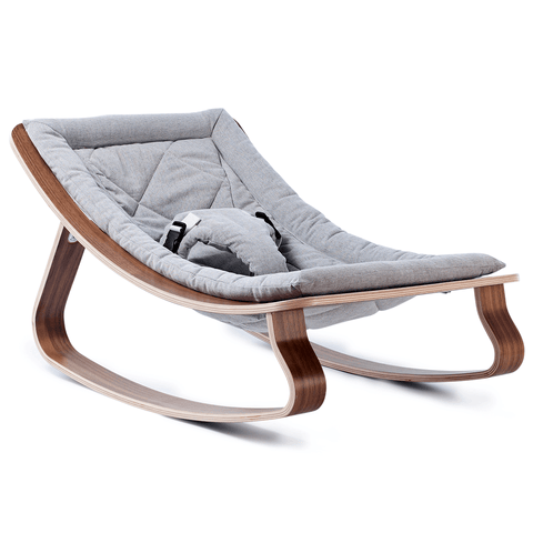 Charlie Crane LEVO Baby Rocker - Beech with Sweet Gray
