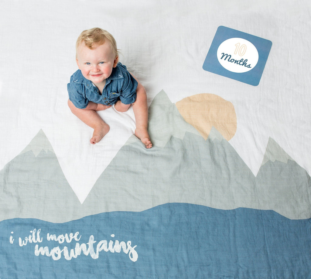 I Will Move Mountains Milestone Blanket & Card Set  - The Project Nursery Shop - 4