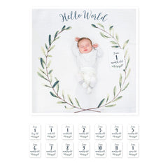 Hello World Milestone Blanket + Card Set - Project Nursery