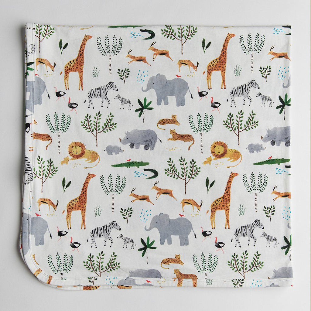 Safari Jungle Stretch Knit Swaddle Blanket - Project Nursery