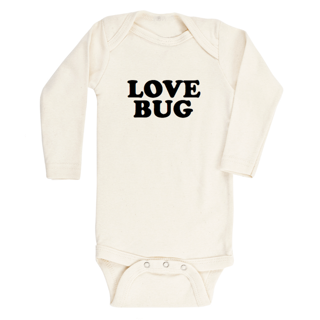Love Bug Longsleeve Organic Bodysuit - Black - Project Nursery