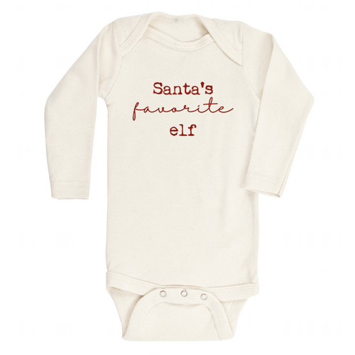 Santa's Favorite Elf Longsleeve Organic Bodysuit - Project Nursery