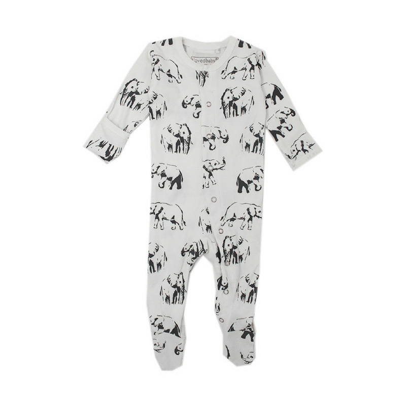 Organic White Elephant Footie Overall - Project Nursery