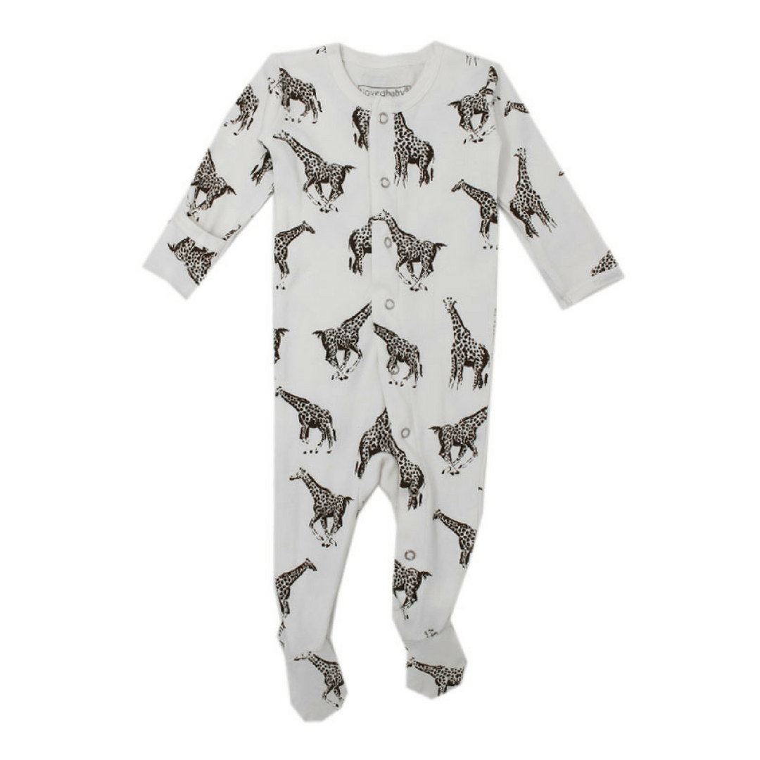 Organic White Giraffe Footie Overall - Project Nursery