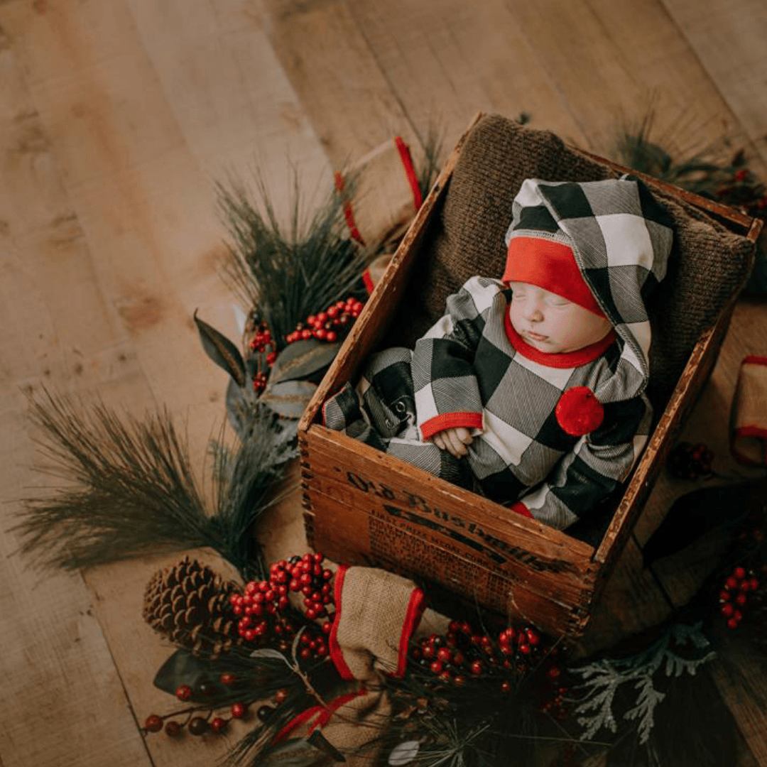Organic Holiday Overall & Cap Set - Buffalo Check - Project Nursery