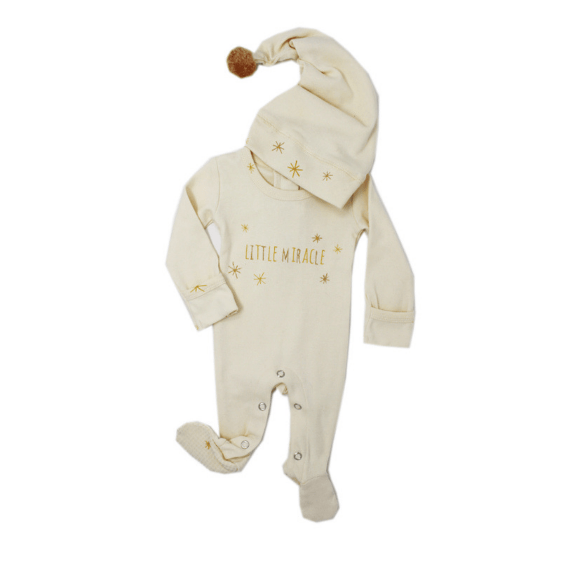 Organic Holiday Overall & Cap Set - Gold Miracle - Project Nursery