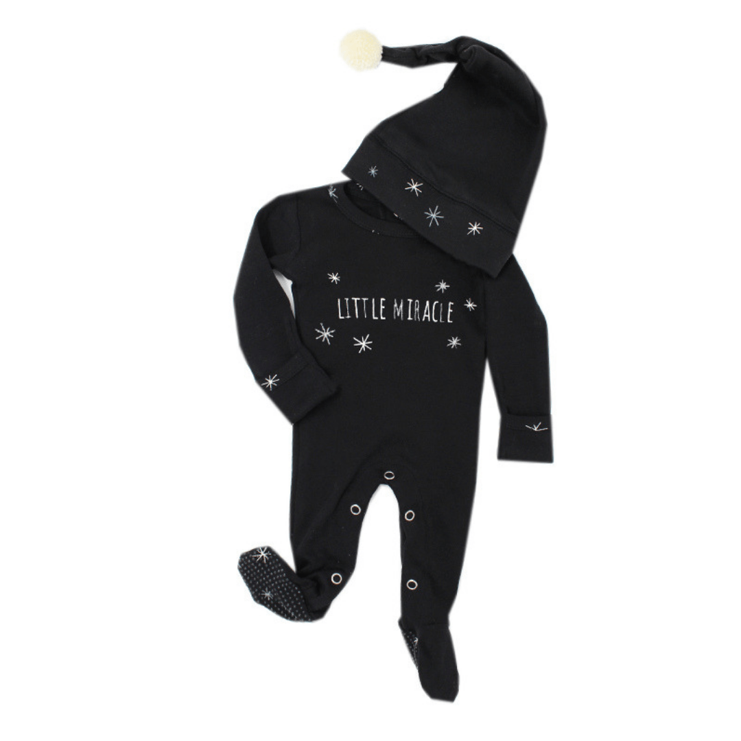Organic Holiday Overall & Cap Set - Silver Miracle - Project Nursery