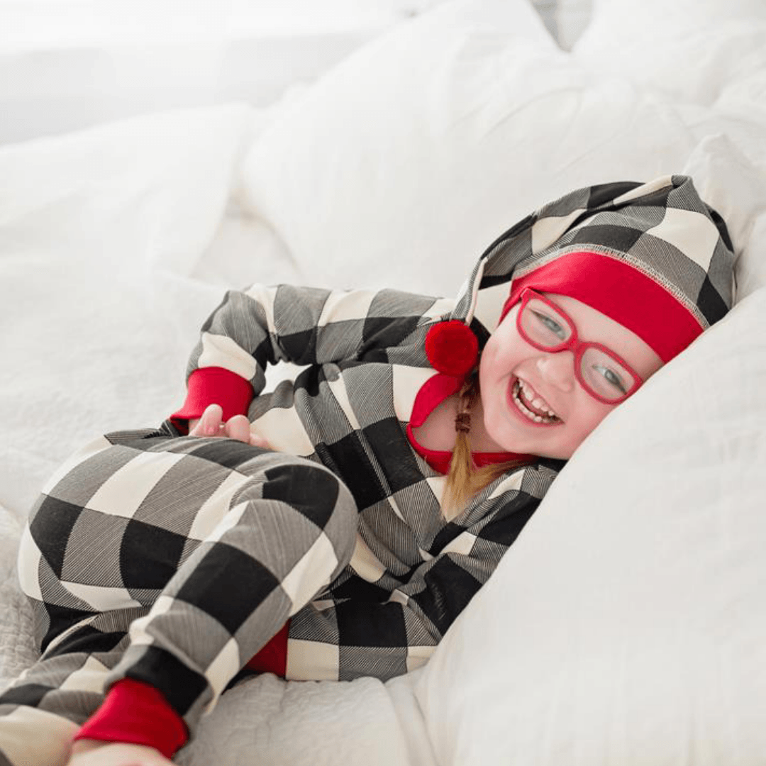 Organic Kids Long Sleeve PJ & Cap Set - Buffalo Check - Project Nursery