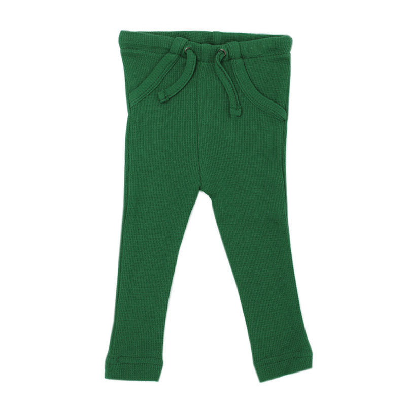 Organic Thermal Drawstring Fitted Pants - Emerald - Project Nursery