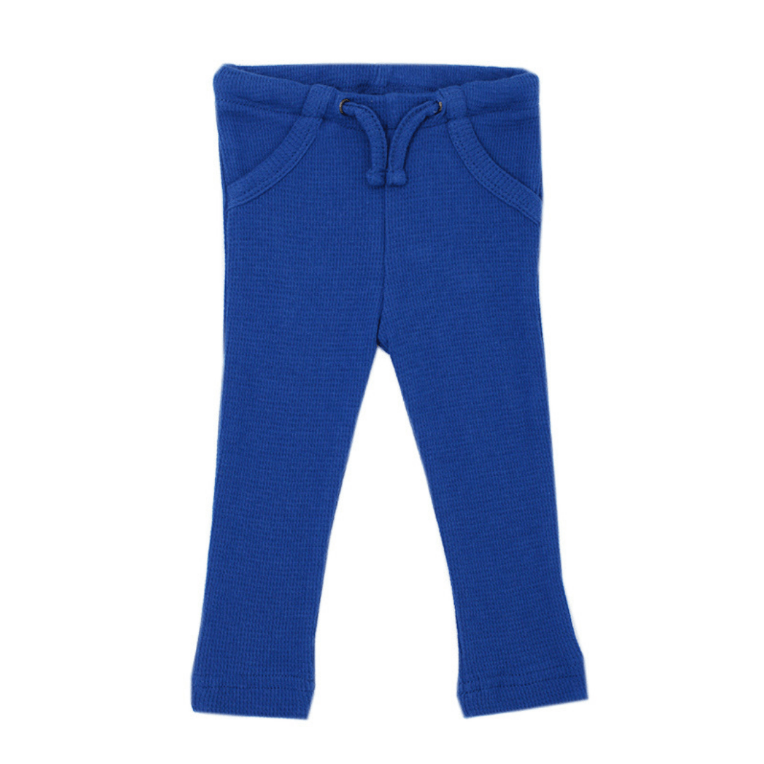 Organic Thermal Drawstring Fitted Pants - Sapphire - Project Nursery