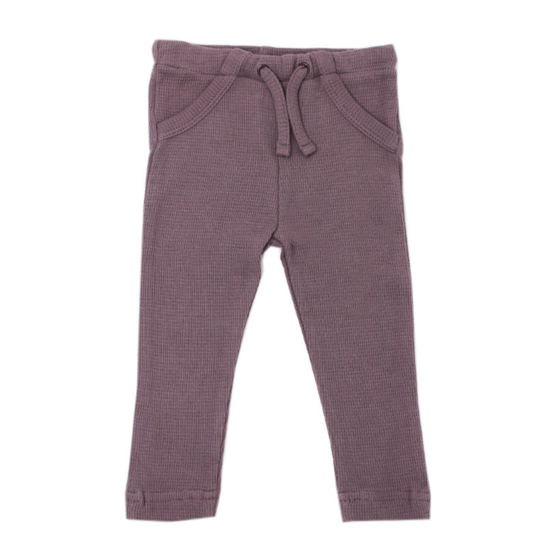 Organic Thermal Drawstring Fitted Pants - Amethyst - Project Nursery