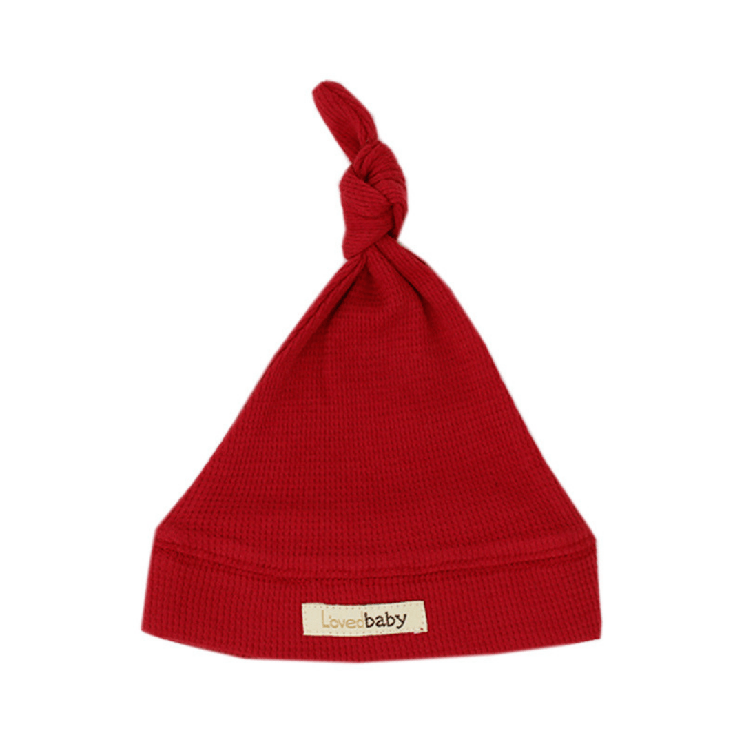 Organic Thermal Knotted Cap -  Ruby - Project Nursery
