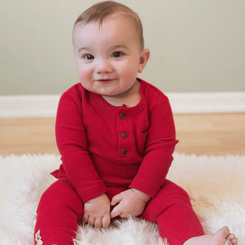 Organic Thermal Drawstring Fitted Pants - Ruby - Project Nursery