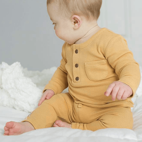 Organic Thermal Drawstring Fitted Pants - Topaz - Project Nursery