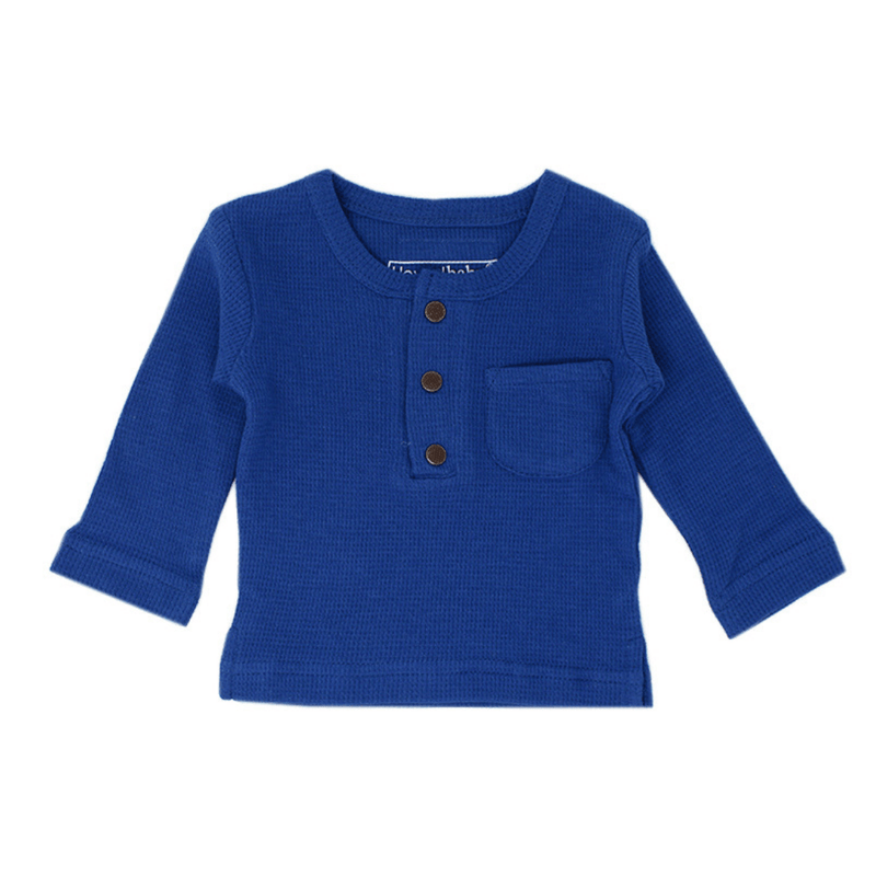 Organic Thermal Long Sleeve Shirt - Sapphire - Project Nursery