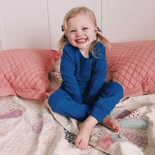 Organic Thermal Kids Jogger Pants - Sapphire - Project Nursery