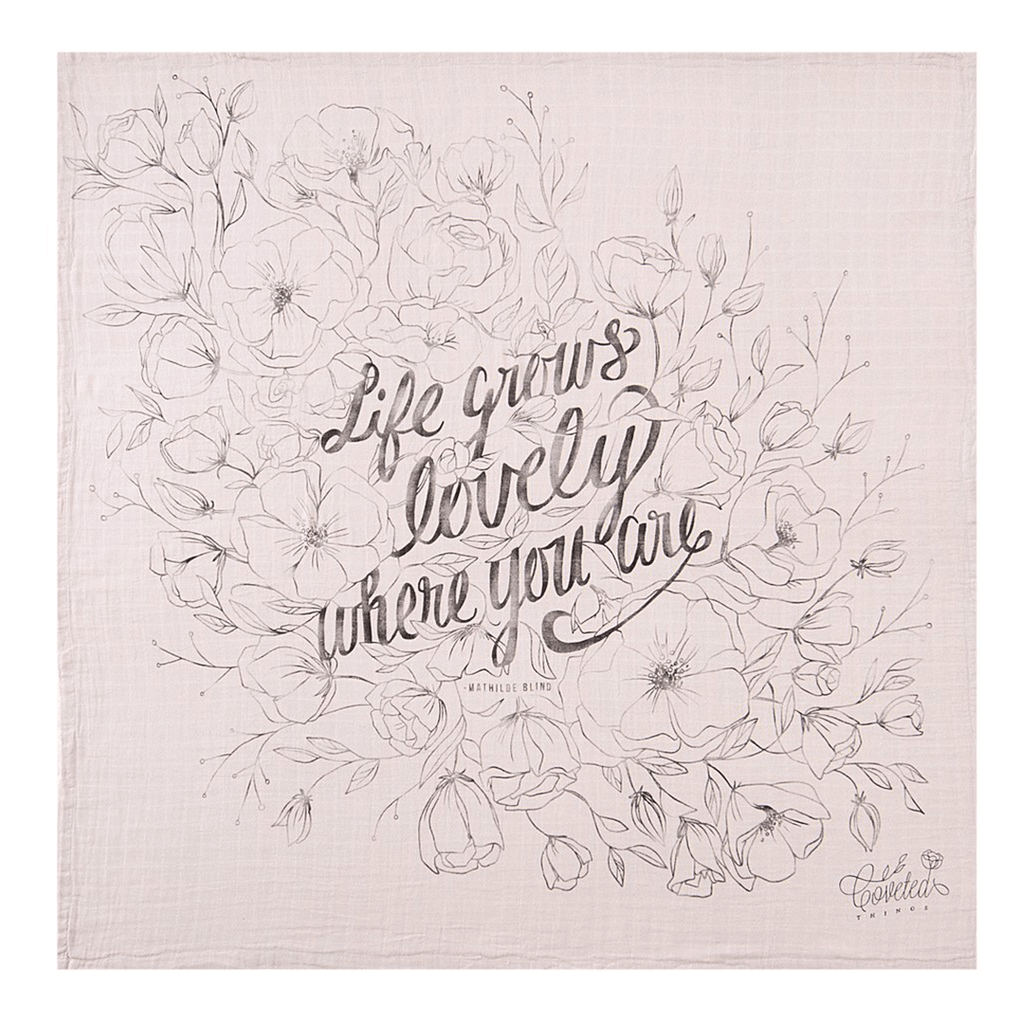 'Life Grows Lovely' Organic Swaddle Scarf  - The Project Nursery Shop - 1