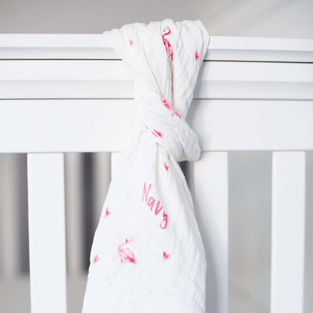 Personalized Muslin Swaddle - Flamingo Love - Project Nursery