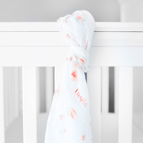 Personalized Muslin Swaddle - Floral - Project Nursery