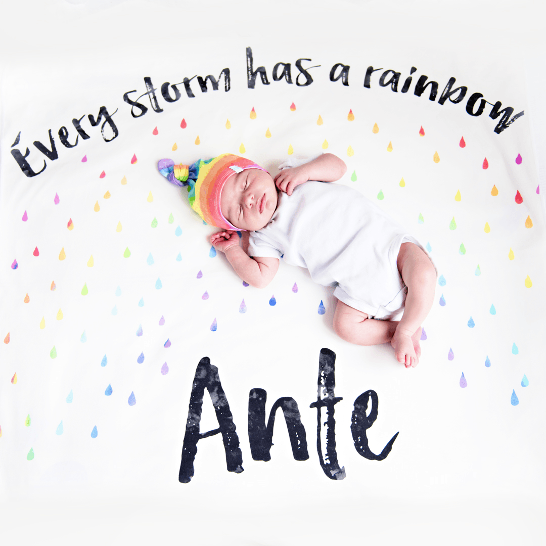 Personalized Rainbow Blanket + Top-Knot Hat - Project Nursery