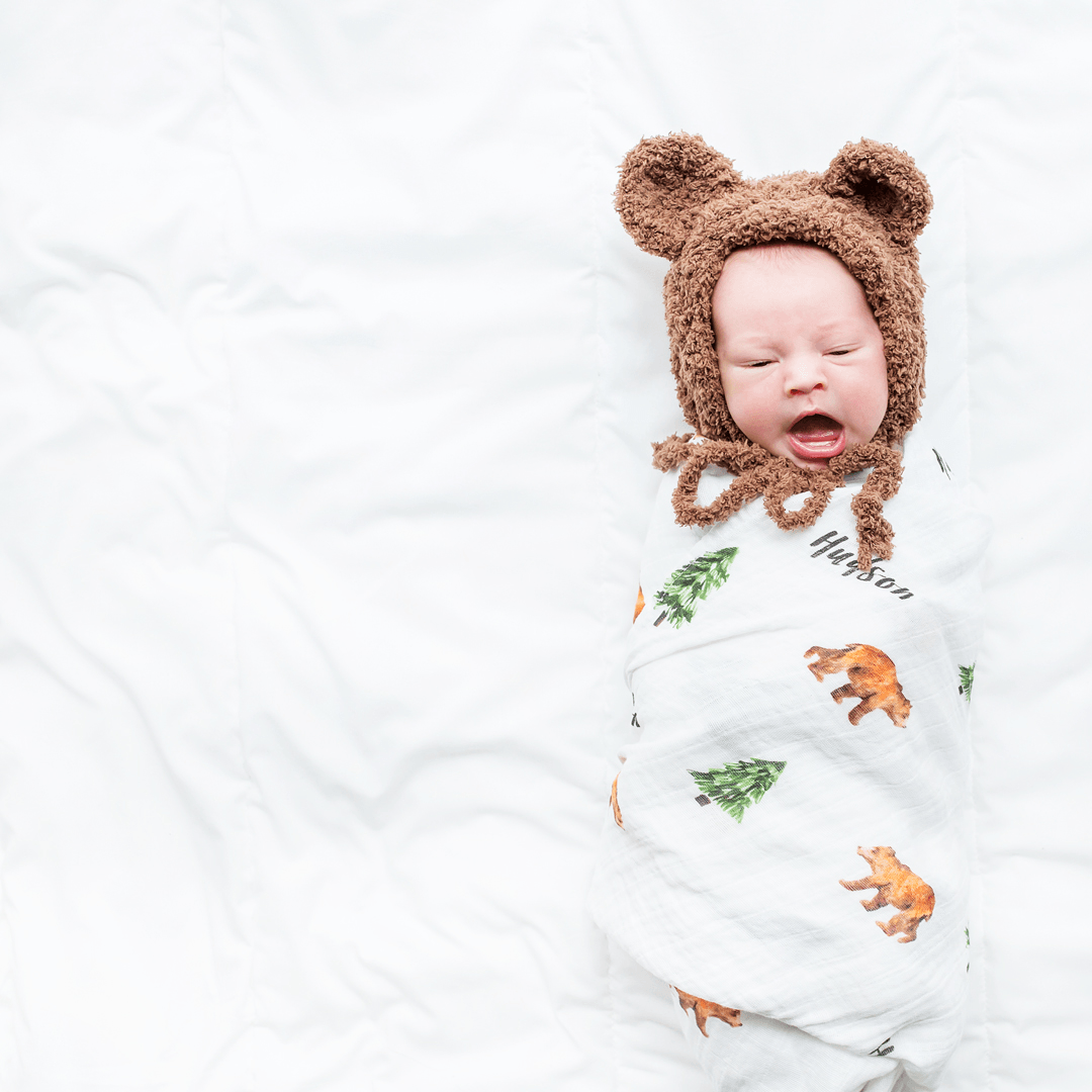 Personalized Muslin Swaddle - Woodland Bear - Project Nursery