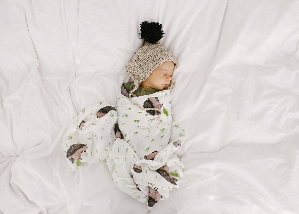 Deluxe Muslin Swaddle in Hedgehog  - The Project Nursery Shop - 4
