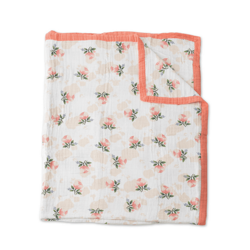 Big Kid Cotton Muslin Quilt - Watercolor Rose - Project Nursery